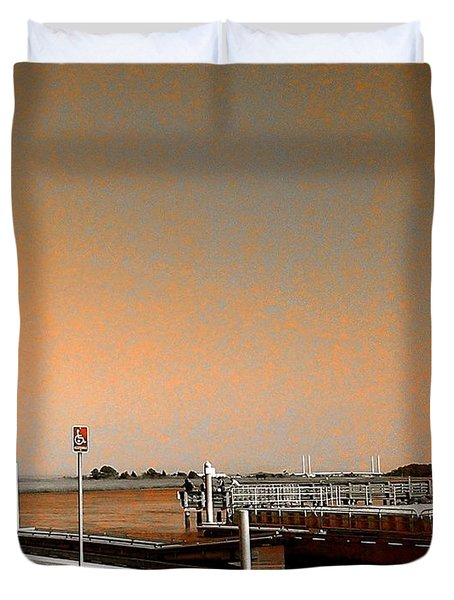 Sea Gulls Watching Over The Wetlands In Orange Duvet Cover by Amazing Photographs AKA Christian Wilson