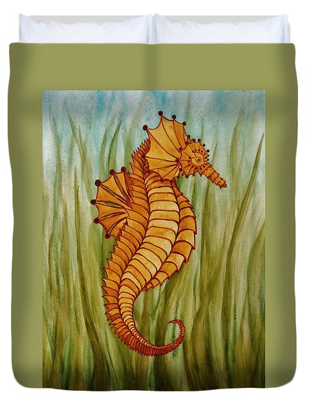 Duvet Cover featuring the painting Sea Horse by Katherine Young-Beck
