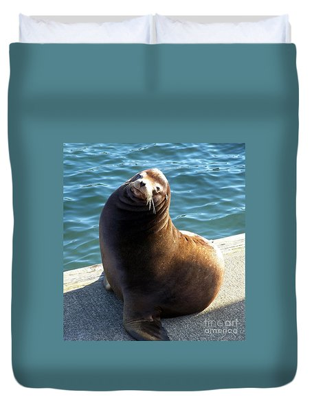 Duvet Cover featuring the photograph Sea Lion Basking In The Sun by Chalet Roome-Rigdon