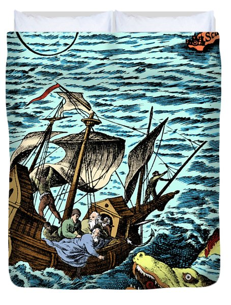 Sea Monster Attacking Ship, 1583 Duvet Cover by Science Source