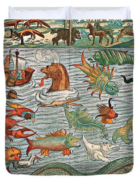 Sea Monsters 1544 Duvet Cover by Photo Researchers