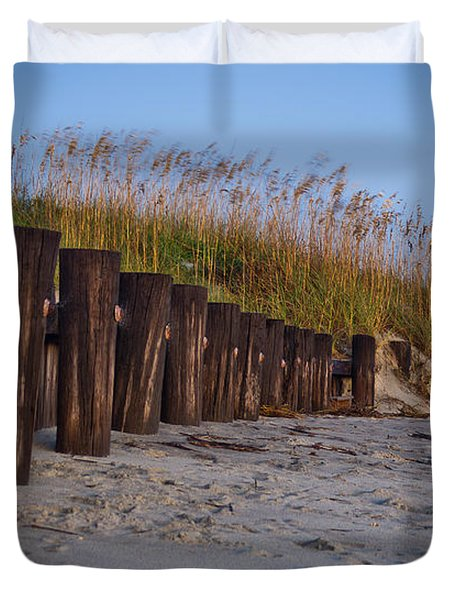Sea Oats And Pilings Duvet Cover