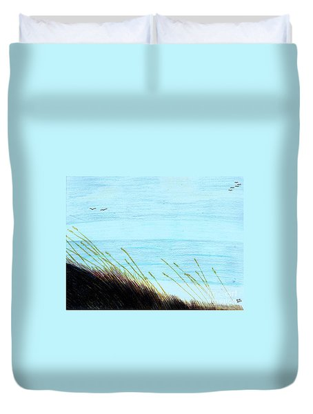Duvet Cover featuring the drawing Sea Oats In The Wind Drawing by D Hackett