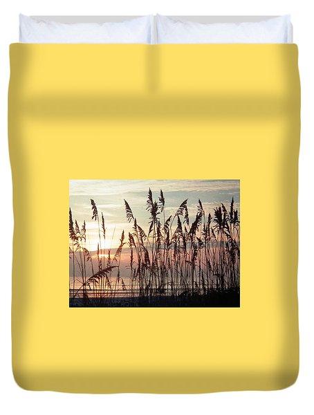 Fabulous Blue Sea Oats Sunrise Duvet Cover by Belinda Lee
