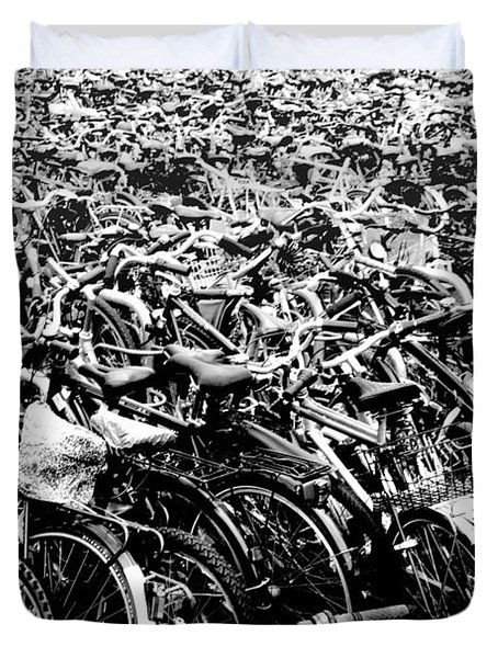 Duvet Cover featuring the photograph Sea Of Bicycles 3 by Joey Agbayani