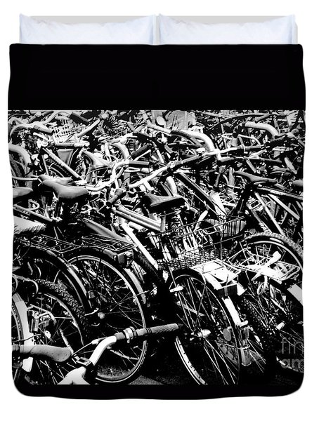 Duvet Cover featuring the photograph Sea Of Bicycles 2 by Joey Agbayani