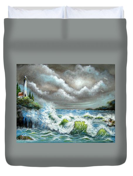 Duvet Cover featuring the painting Sea Of Smiling Faces by Patrice Torrillo