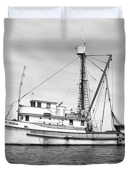 Purse Seiner Sea Queen Monterey Harbor California Fishing Boat Purse Seiner Duvet Cover