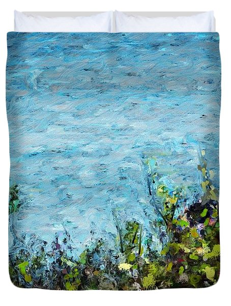 Duvet Cover featuring the digital art Sea Shore 1 by David Lane