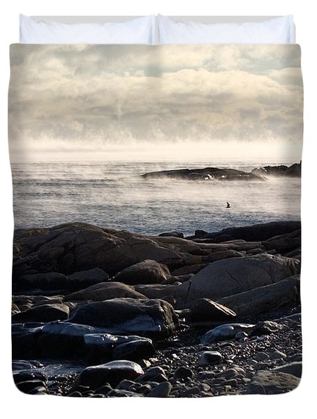 Sea-smoke At Schoodic Duvet Cover by Brent L Ander