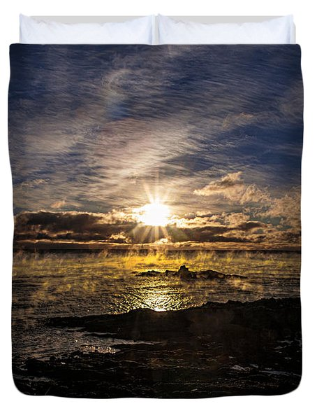 Sea Smoke Panorama Duvet Cover by Marty Saccone