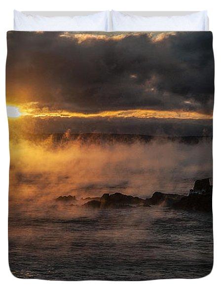 Sea Smoke Sunrise Duvet Cover by Marty Saccone