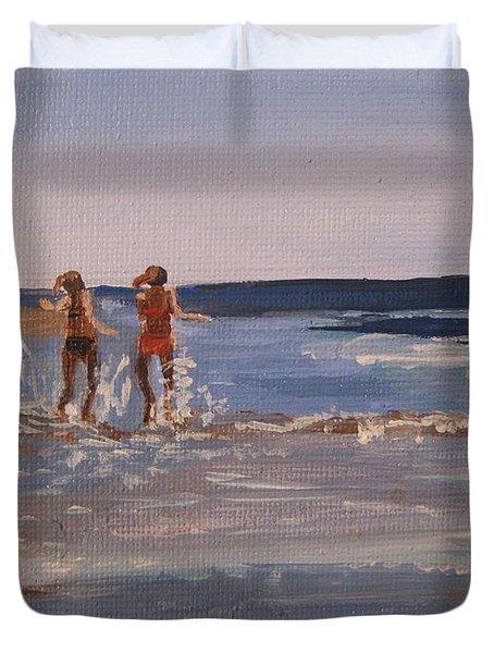 Sea Splashing On The Beach Duvet Cover