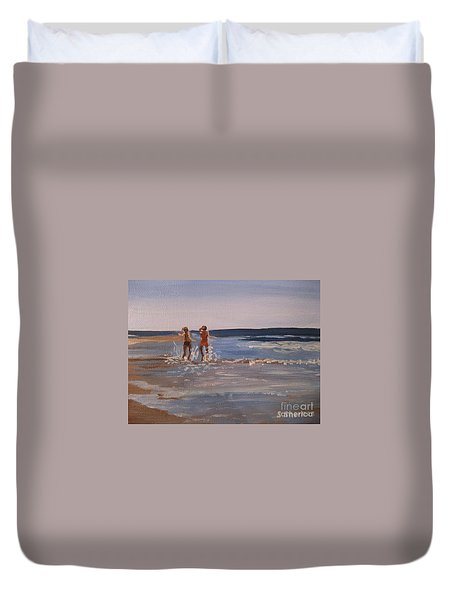 Sea Splashing On The Beach Duvet Cover