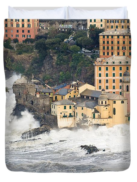 Duvet Cover featuring the photograph Sea Storm In Camogli - Italy by Antonio Scarpi