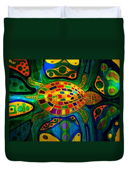 Sea Turtle - Abstract Ocean - Native Art Duvet Cover