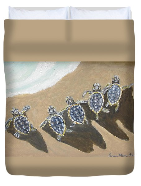 Sea Turtle Babes Duvet Cover
