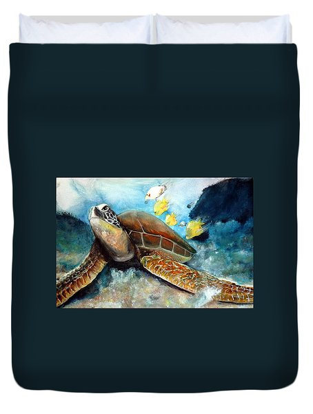 Duvet Cover featuring the painting Sea Turtle I by Bernadette Krupa