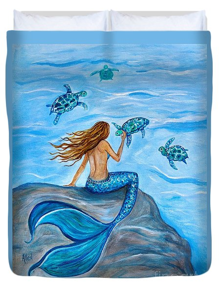 Sea Turtle Friends Duvet Cover by Leslie Allen