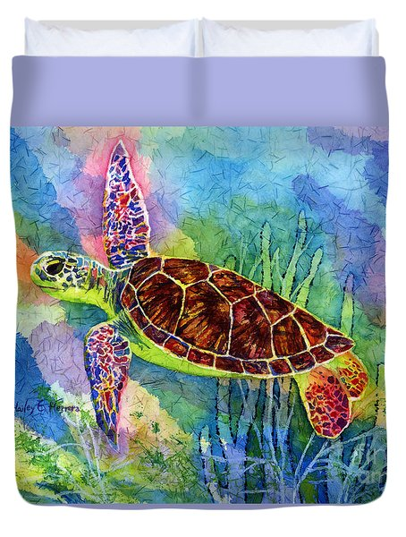 Duvet Cover featuring the painting Sea Turtle by Hailey E Herrera