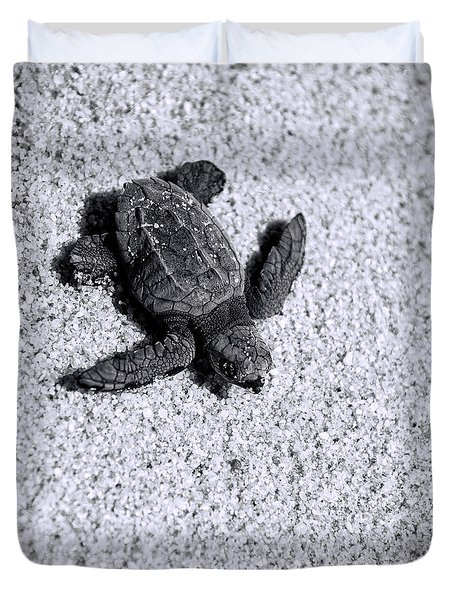 Sea Turtle In Black And White Duvet Cover by Sebastian Musial