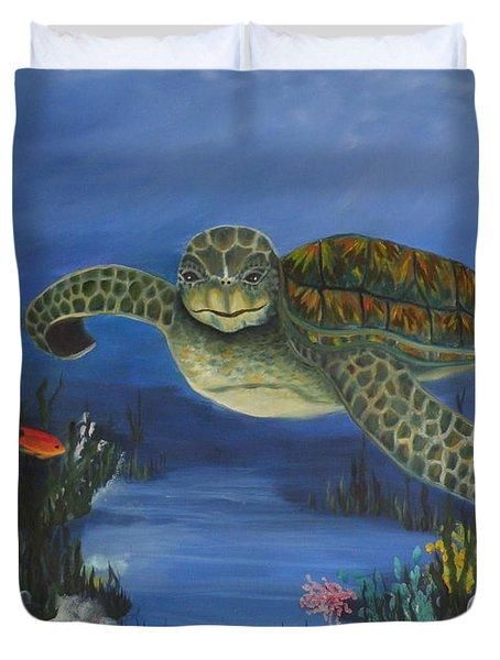 Sea Turtle In Paradise Duvet Cover