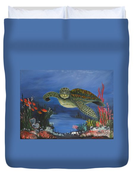 Sea Turtle In Paradise Duvet Cover