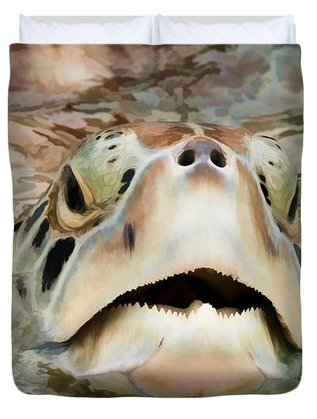 Sea Turtle Poking Head Out Of Water Duvet Cover by Dan Friend