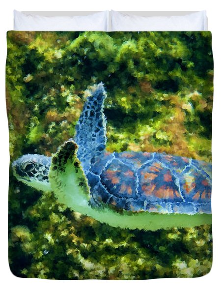 Sea Turtle Swimming In Water Duvet Cover by Dan Friend