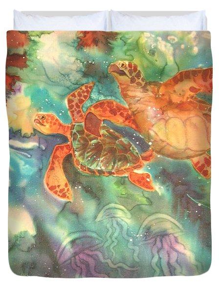 Sea Turtles Duvet Cover by Deborah Younglao