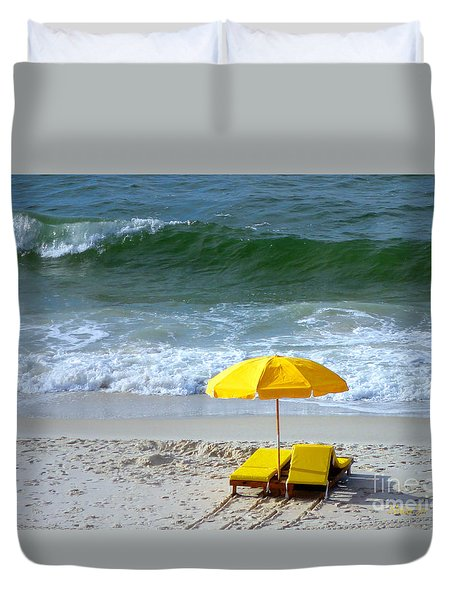 Duvet Cover featuring the photograph By The Sea Waiting For Me by Nava Thompson