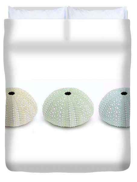 Duvet Cover featuring the photograph Sea Urchins Greens In Three by Jennie Marie Schell