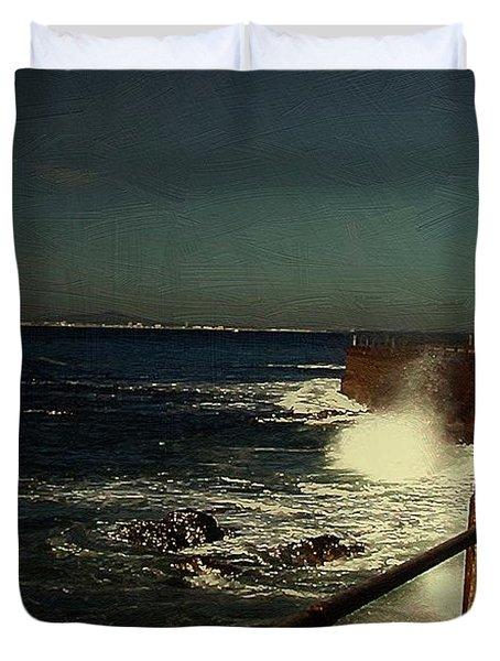 Sea Wall At Night Duvet Cover