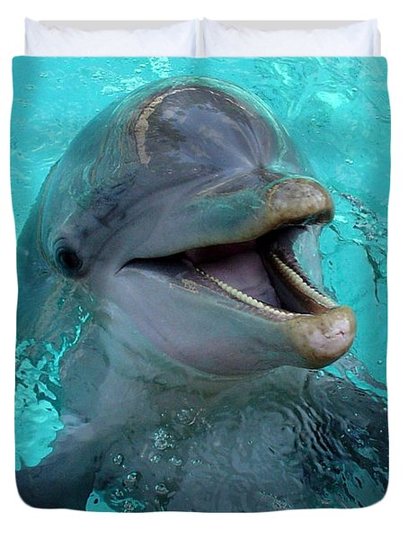 Duvet Cover featuring the photograph Sea World Dolphin by David Nicholls