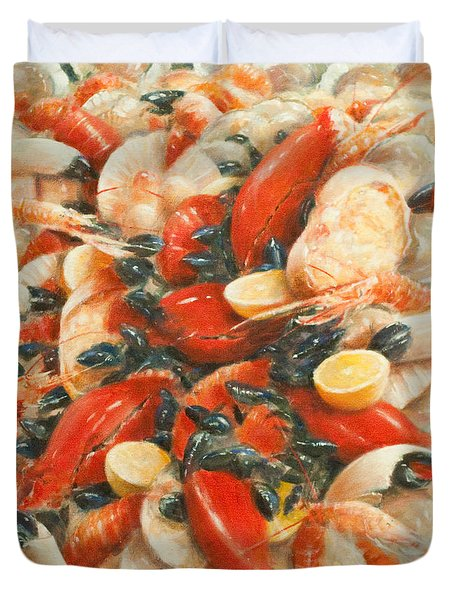 Seafood Extravaganza Duvet Cover by Lincoln Seligman