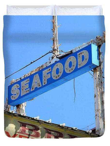 Seafood Sign Duvet Cover by Valentino Visentini