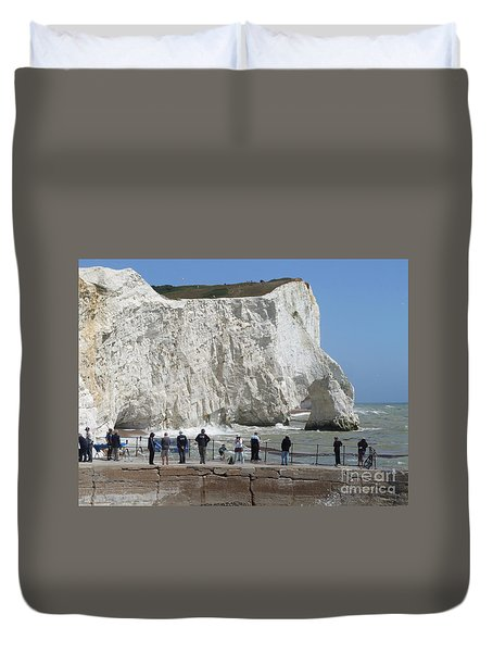 Duvet Cover featuring the photograph Seaford Head  by Phil Banks