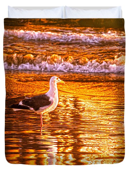 Seagul Reflects On A Golden Molten Shore Duvet Cover