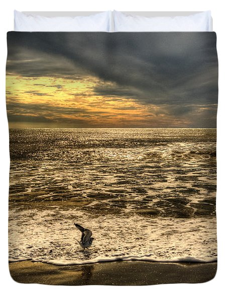 Duvet Cover featuring the photograph Seagull Sunset Bath by Julis Simo