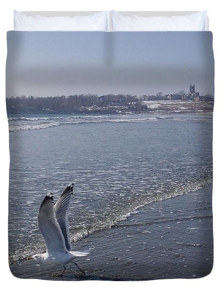 Duvet Cover featuring the photograph Seagull 1 by Robert Nickologianis