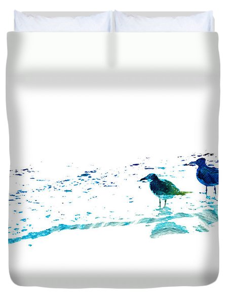 Seagull Art - On The Shore - By Sharon Cummings Duvet Cover by Sharon Cummings