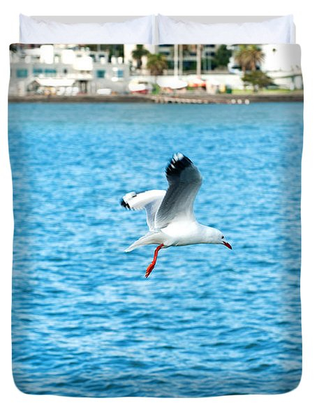 Seagull At St Kilda Duvet Cover by Yew Kwang