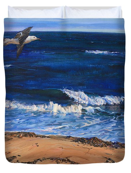 Seagull Flying Along The Surf Duvet Cover