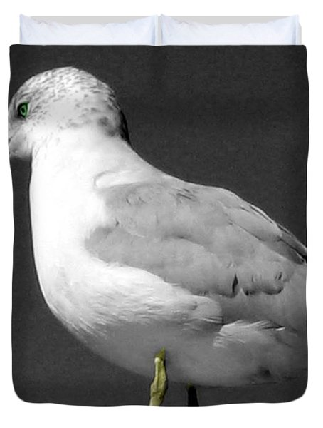 Duvet Cover featuring the photograph Seagull In Black And White by Nina Silver