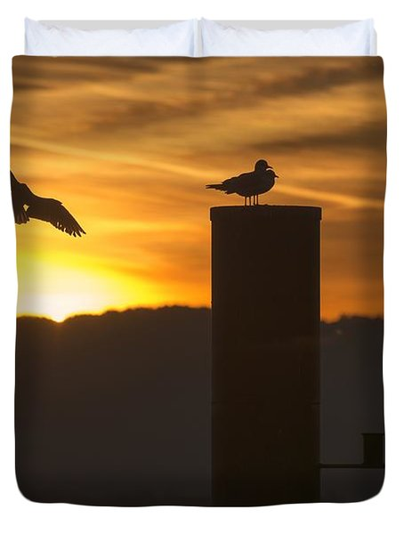 Duvet Cover featuring the photograph Seagull In The Sunset by Chevy Fleet