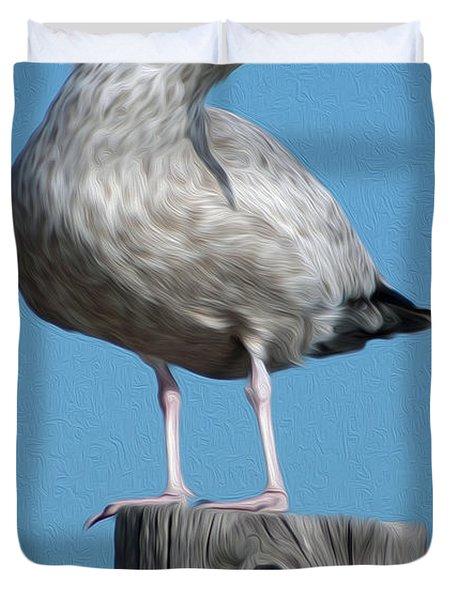 Duvet Cover featuring the digital art Seagull by Kelvin Booker