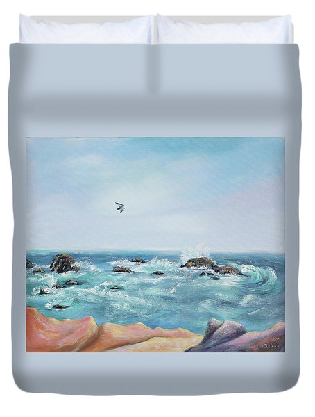 Seagull Over The Ocean Duvet Cover by Asha Carolyn Young