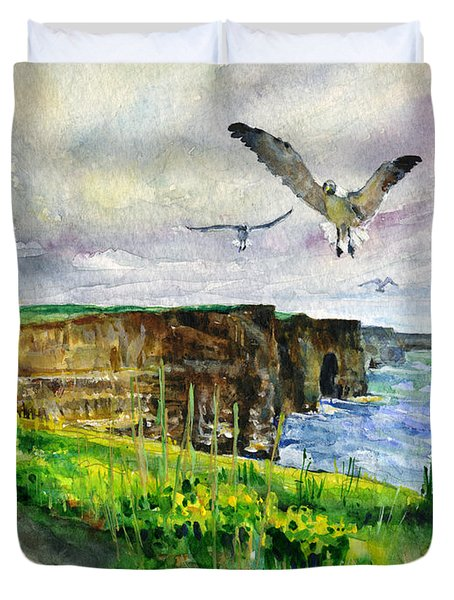 Seagulls At The Cliffs Of Moher Duvet Cover