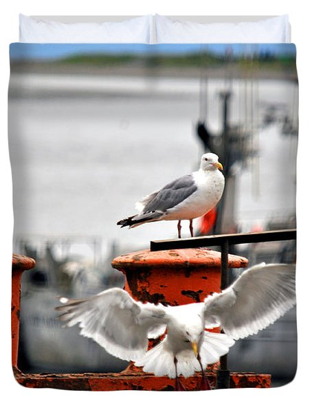 Seagulls Expression Duvet Cover by Debra  Miller