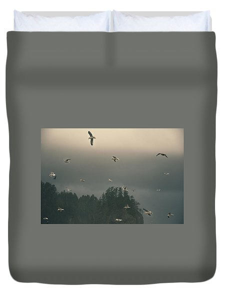 Seagulls In A Storm Duvet Cover